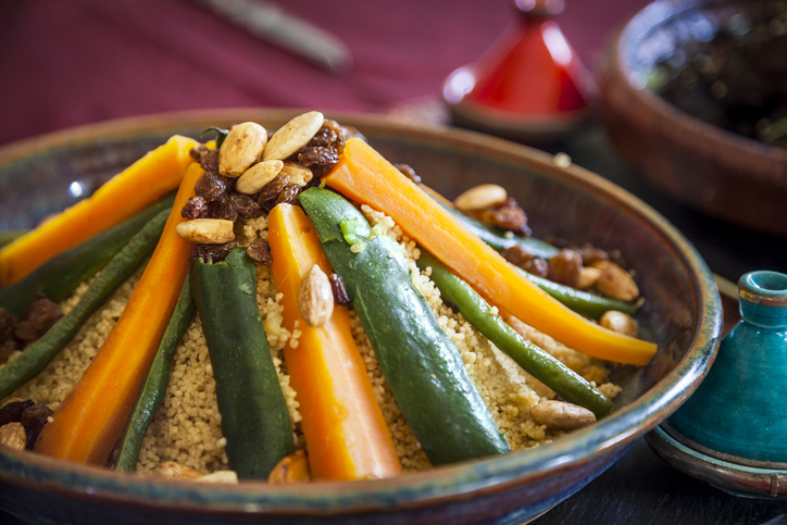 Vegetable couscous Moroccan dishes