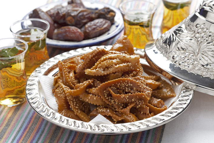 Chebakia honey cookies with sesame seeds in a metal bowl made for the time of ramadan moroccan dishes