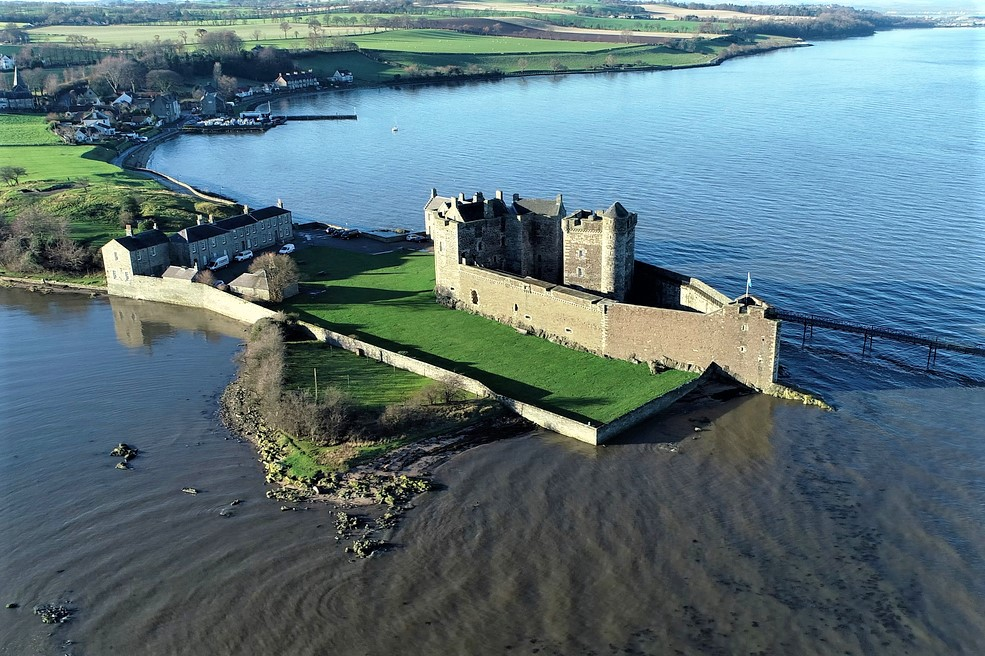 Low-level aerial image of Blackness Castle.
