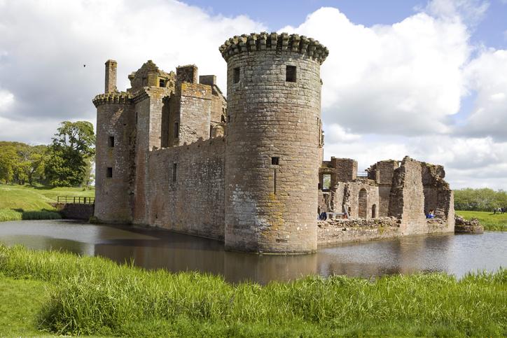 Moated Caerlaverock Castle, Scotland,