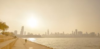 A heat wave and smog on the shoreline of a cityscape - heatwave in the US