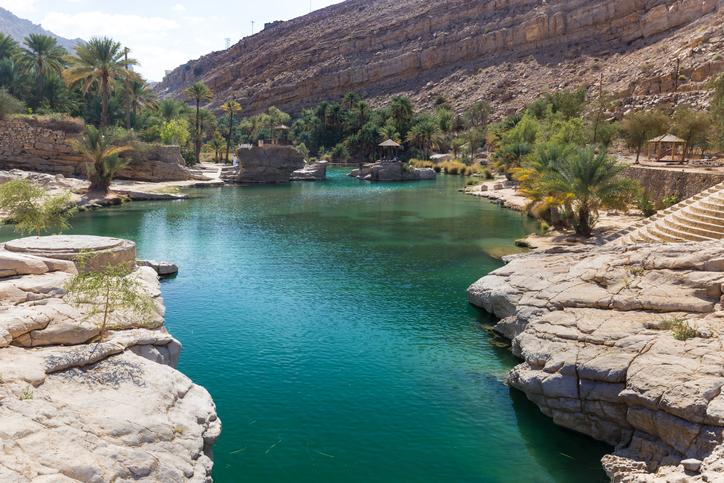 View of emerald pools in Wadi Bani Khalid, Oman