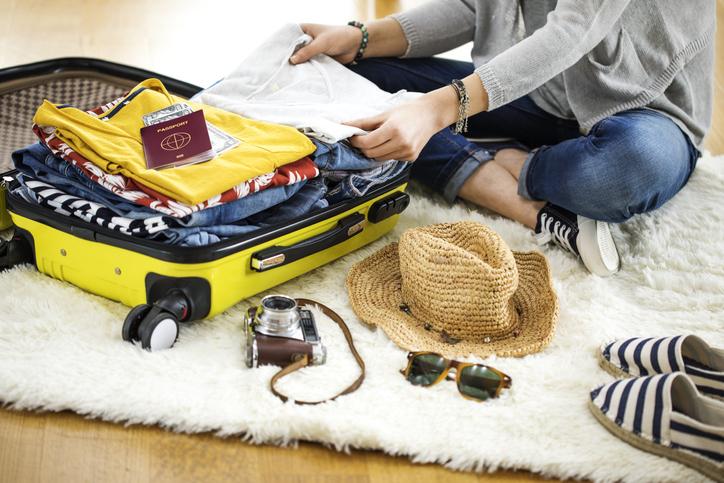 Preparation travel suitcase at home travel bag
