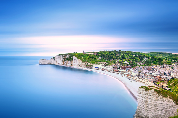 Etretat village. Aerial view from the cliff. Normandy, France