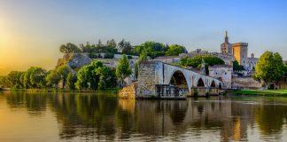 Sunrise of Avignon Bridge with Popes Palace, Pont Saint-Benezet, Provence, France