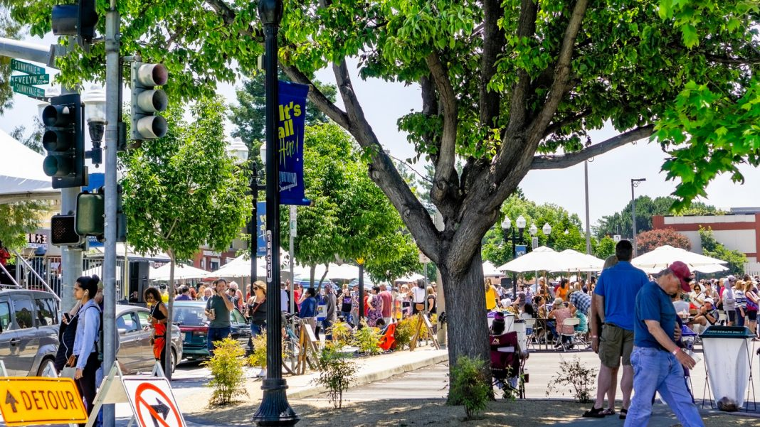 Streets closed in downtown Sunnyvale for the Art, Wine & Music Festival