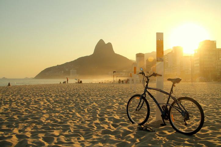Bike in a great sunset at Ipanema beach