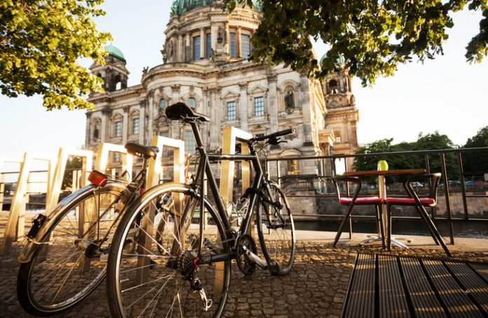 two bicycles in Berlin, city commuting