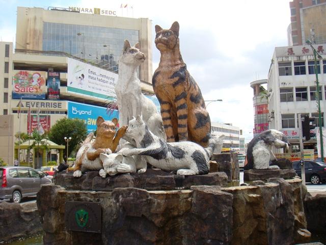 Cat statues, Kuching, Malaysia