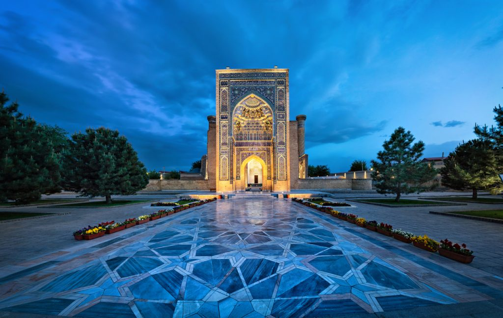 Entrance portal to Gur-e-Amir - a mausoleum of the Asian conqueror Timur (also known as Tamerlane) in Samarkand, Uzbekistan, Central Asia, Travel Guide