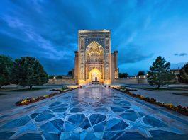 Entrance portal to Gur-e-Amir - a mausoleum of the Asian conqueror Timur (also known as Tamerlane) in Samarkand, Uzbekistan