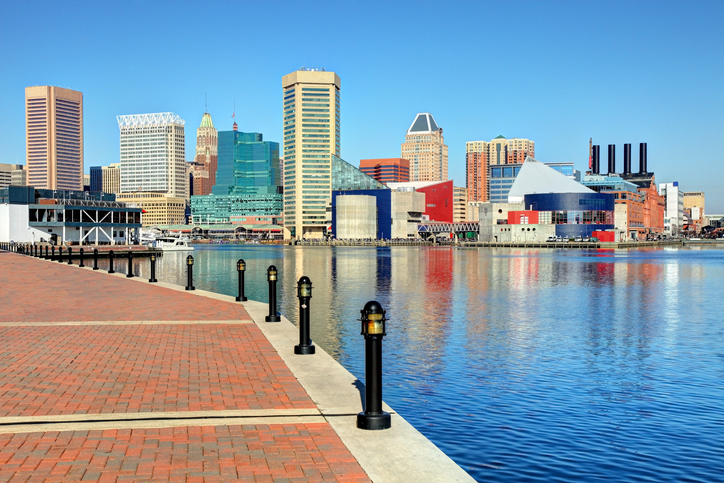 Baltimore skyline along the Inner harbor