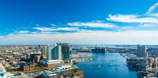 Baltimore Aerial with Patapsco River / Waterfront