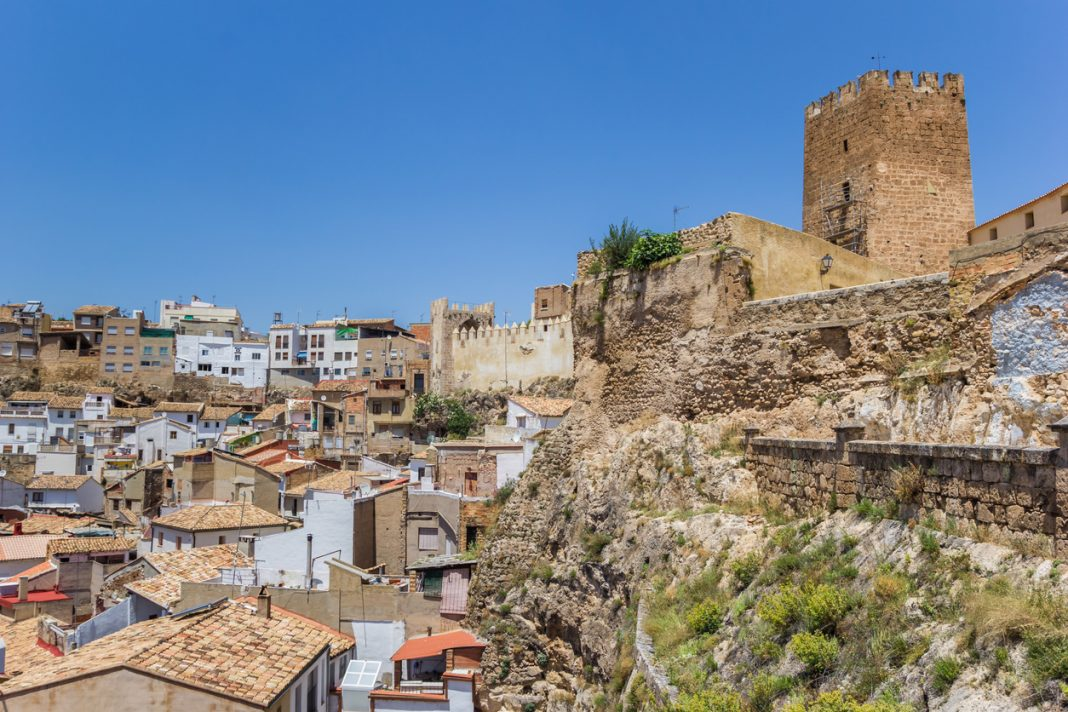 Castle on top of a hill overlooking Bunol, Spain