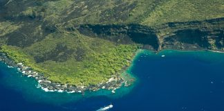 Hawaii's Big Island aerial shot - Kealakekua Bay