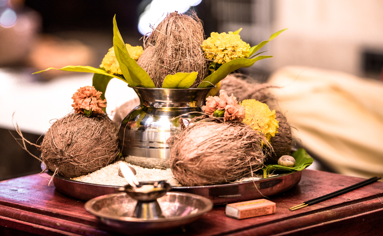 Beautiful Photo of an Indian Pooja Thaali to be offered as an offering to the God during opening ceremony/marriage/housewarming...