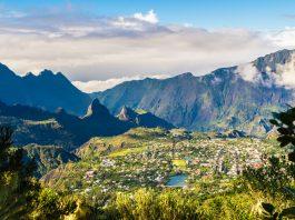 Landscape with Cilaos town in Cirque de Cilaos, La Reunion island