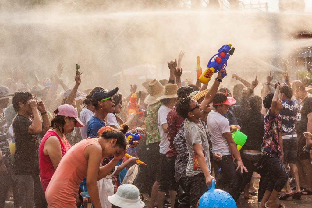 People celebrate in Songkran Festival Day