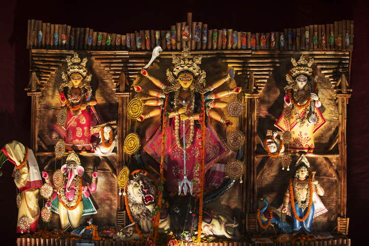 An Indian Deity : Goddess Durga. The deity made out of clay is adorned with decorative work. The worship during this