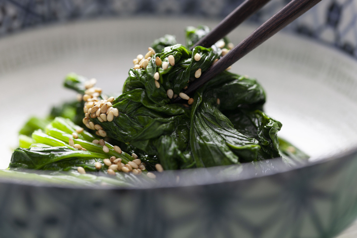 Japanese food Ohitashi spinach with sesame seeds