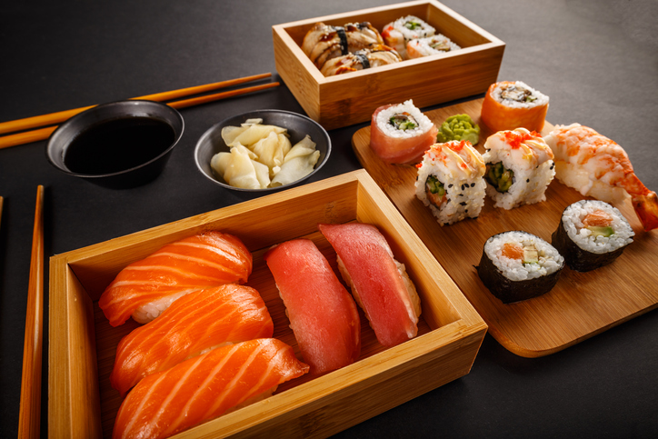 Sushi rolls composition japanese cuisine