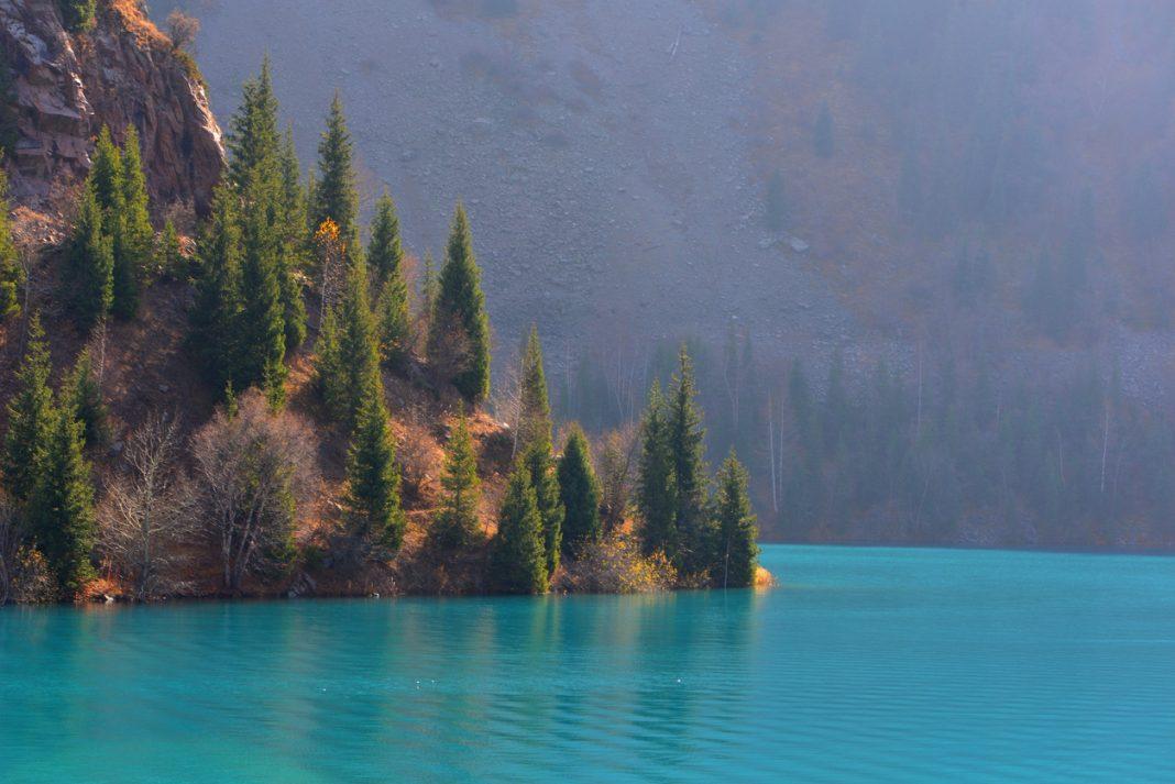 Autumn day at mountain lake