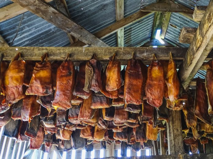 Specialty of iceland called hakarl fermented shark in open warehouse
