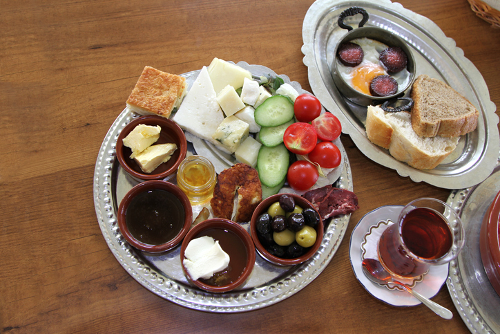 Traditional Turkish breakfast close up image