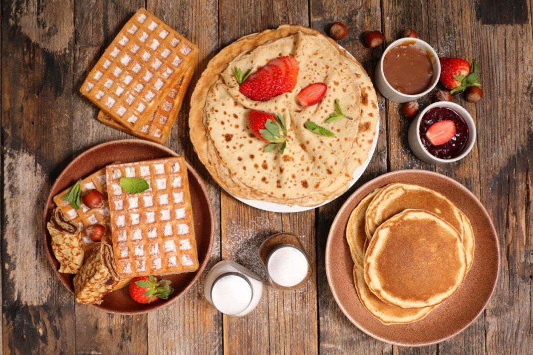 assorted waffle, pancake and crepe
