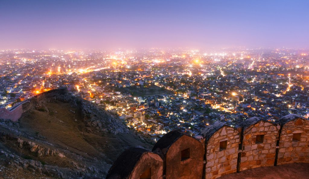 Fortifications at the Nahargarh fort Diwali In India