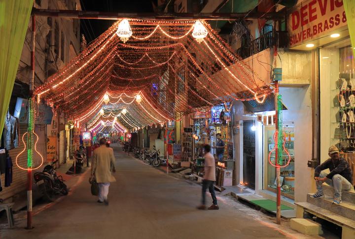 Udaipur cityscape shopping India, Diwali In India