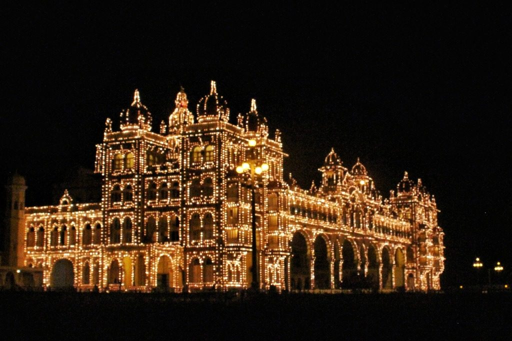 The illuminated Mysore Palace during the Dasara festival