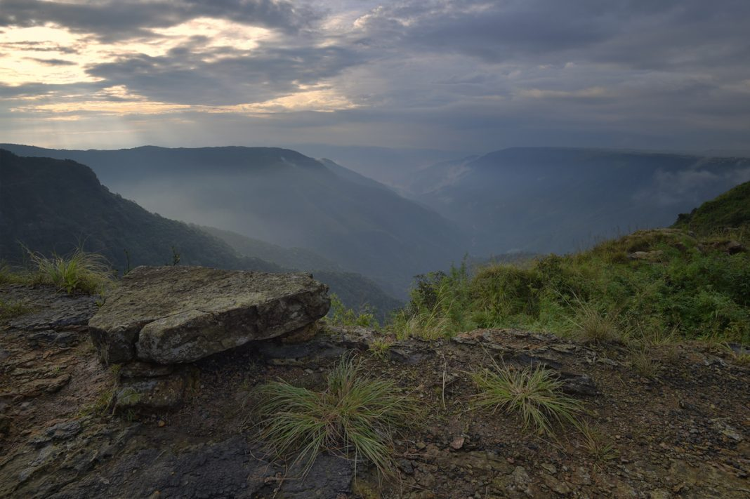 Sunrise in the valley near Cherrapunjee, Meghalaya, India, Asia