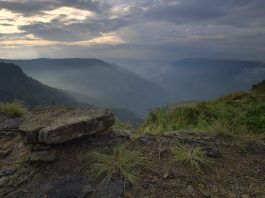 Sunrise in the valley near Cherrapunjee, Meghalaya, India, Asia