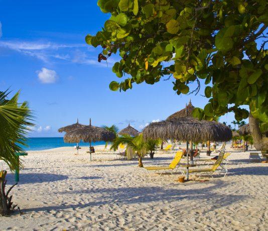 Beautiful beach with palapas and palmtrees, Eagle Beach, Aruba