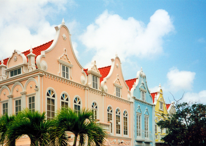 Oranjestad,Aruba: old Dutch colonial gables with tropical colors
