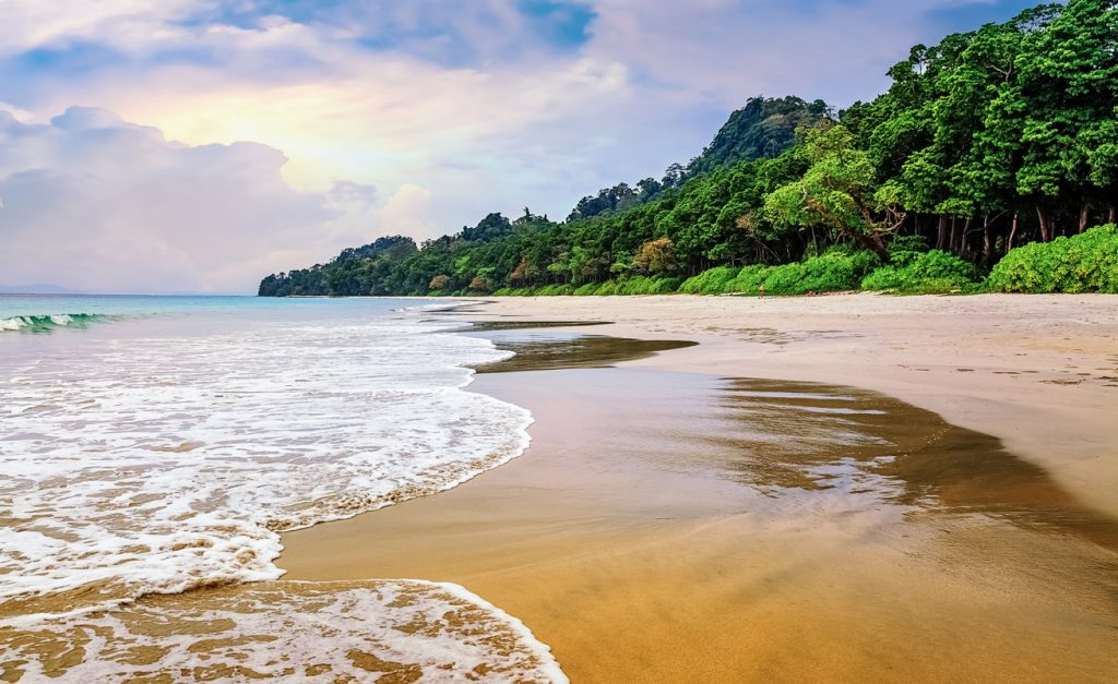 Scenic Havelock Island sea beach Andaman and Nicobar islands India at sunset, island in india