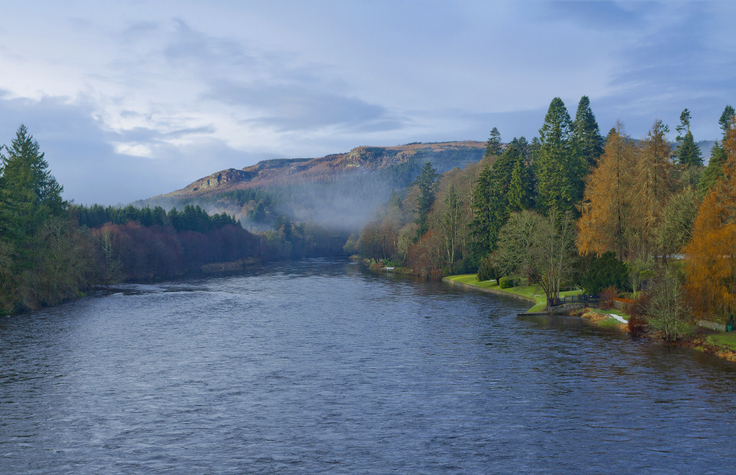Autumn landscape with river Tay in Dunkeld, Perth and Kinross, Scotland