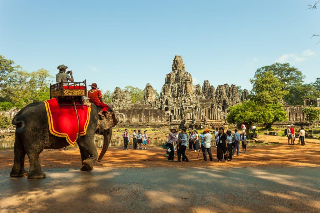elephant rides at Angkor Thom at Cambodia.