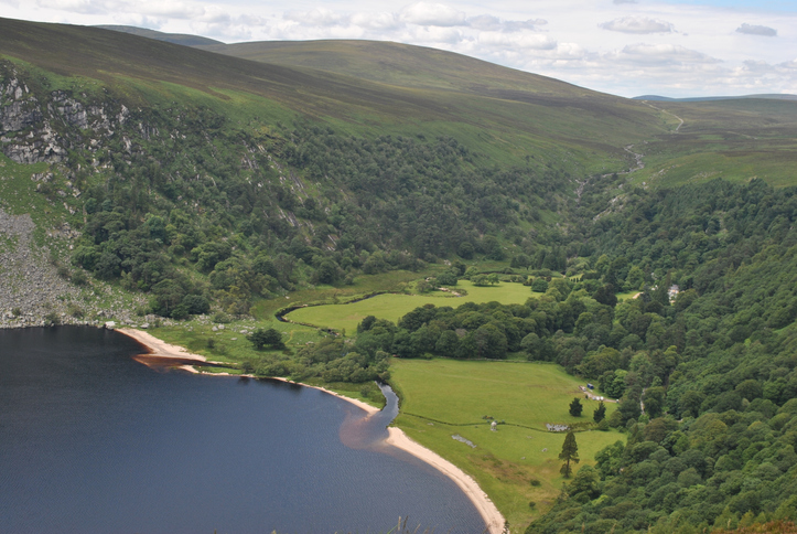 looking down on lough tay on the sally gap in wicklow ireland