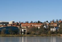 Part of Kolding City close to the winter lake. Denmark.