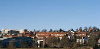 Part of Kolding City close to the winter lake. Denmark.