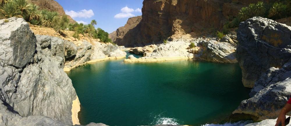 Waterfall At Wadi Al Arbeieen In Oman