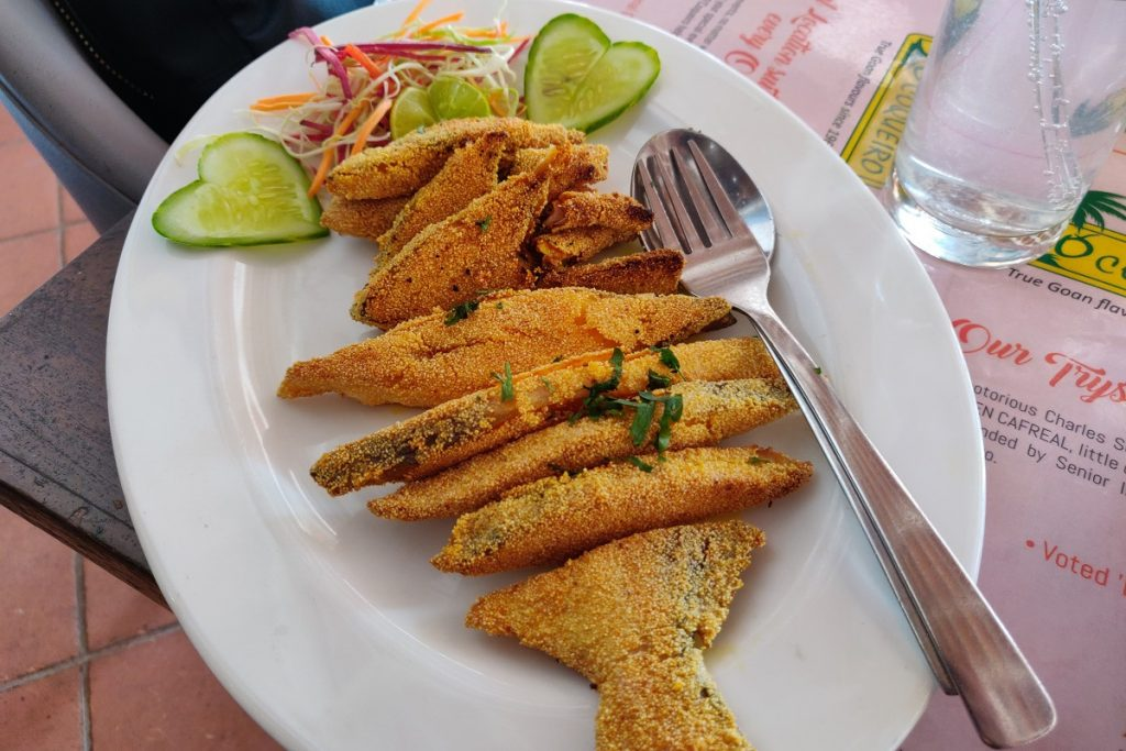 A plate of fish rava fry at O'Coqueiro in Goa