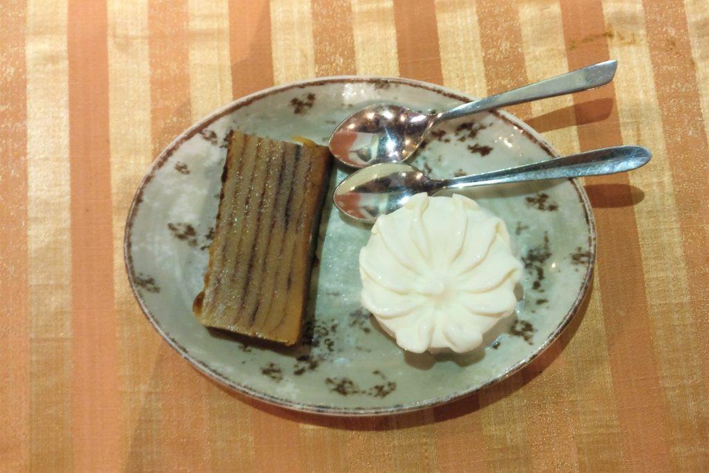 Bebinca and ice cream in Martin's Corner, Goa