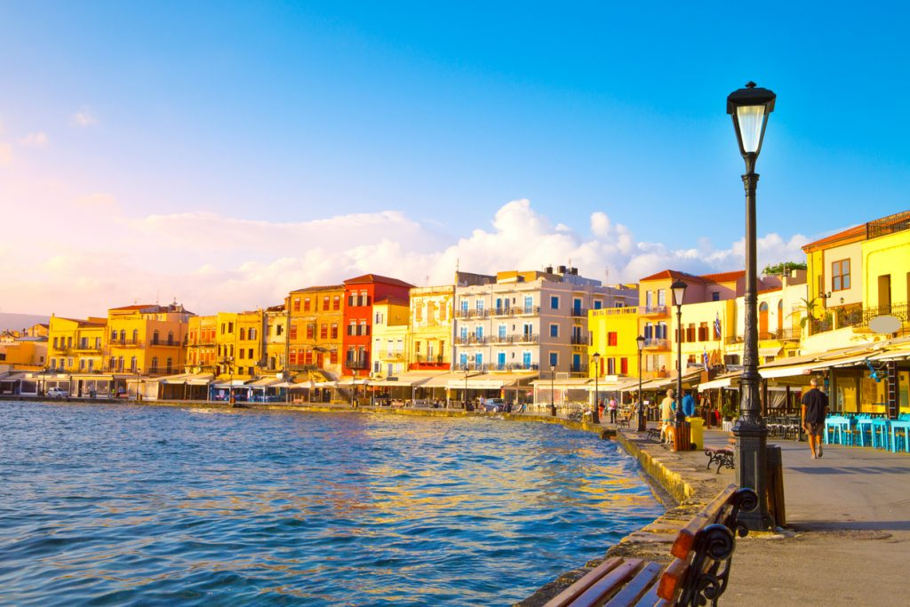 View of the old port of Chania, Crete island, Greece