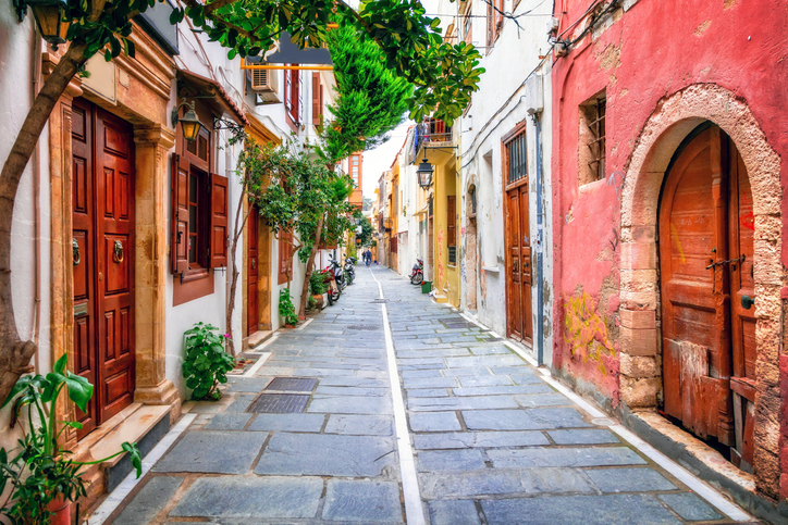 Charming streets of old town in Rethymno, Crete places to see in crete