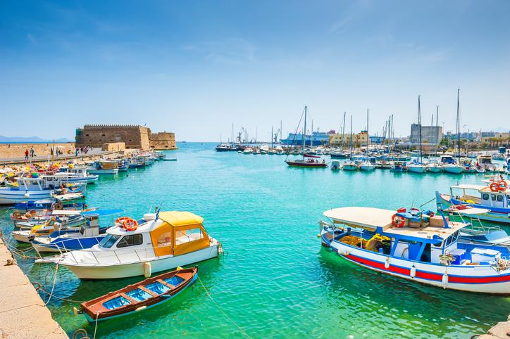 The old harbor in Heraklion, Crete island, Greece