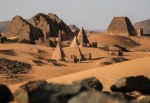 Meroe pyramids in the sahara desert Sudan