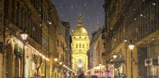 Budapest cityscape with Zrinyi Street and St Stephen's Basilica at dusk; europe travel tips